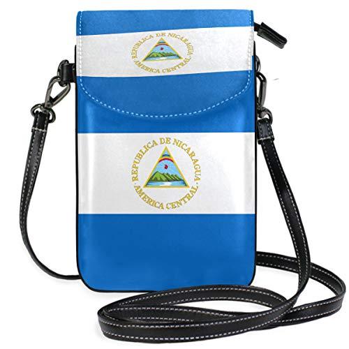 Bandolera con bandera de Nicaragua, cartera para teléfono celular, con ranuras para tarjetas de crédito para mujer