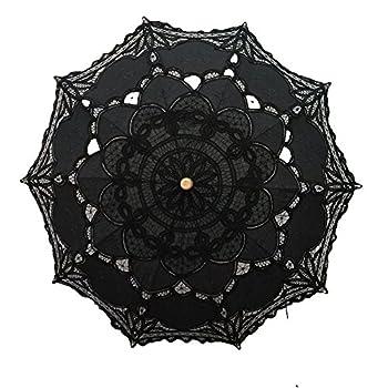 Handmade Black Lace Parasol Umbrella Wedding Bridal 30 Inch Adult Size