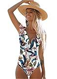 Bañador de una pieza escotado, bikini con volantes, cuello en V pronunciado blanco L