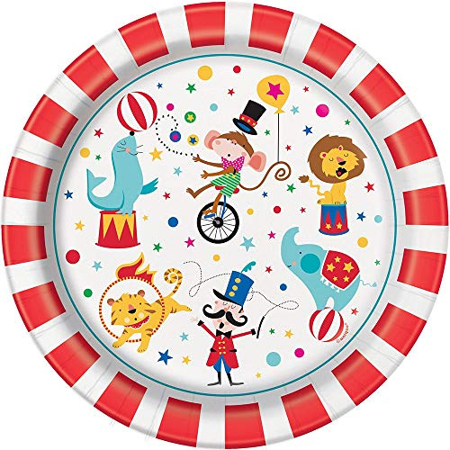 Unique Party 72475 - 23cm Carnival Circus Party Paper Plates, Pack of 8