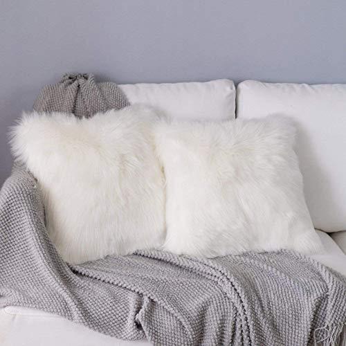 YDFYX Funda de cojín de sofá, Funda Almohada de Suave Piel sintética de Lana, Super Suave Lana de imitación Terciopelo Long Almohada Funda de Almohada (2Pcs Blanco, 45X45 cm)