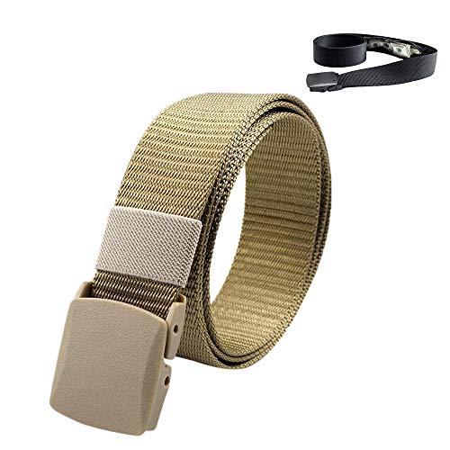 99AMZ Cinturón de Nailon para Hombre Ajustable120 cm para Deportes de Exterior Impermeable con Extraíble Hebilla Fajines Trenzado Ajustable Lona Cinturon con Cremallera Oculta Bolsillo Correas