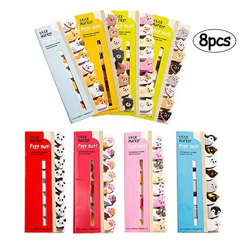 Kawaii - graziosi segnapagina adesivi con simpatici animaletti, utilizzabili per appunti e come segnalibri, per l'ufficio e la scuola, confezione da 8