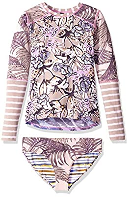 Maaji Girls' Big Long Sleeve Rashguard Swimsuit Set, acai and Violets Purple Palm, 10