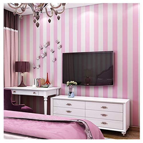 Blooming Wall: Modern Stripes Removable Peel-and-Stick Paint Wallpaper Self adhesive Wallpaper Wall Decor Contact Paper (Pink)