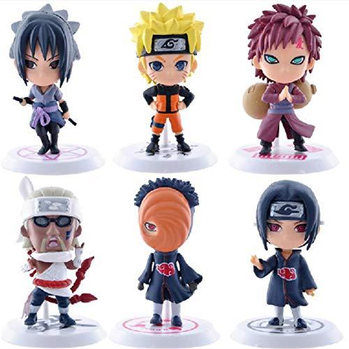 shuaiyin 6 Stück Q Version Naruto Puppenmodell, Anime Puppen Figur PVC Spielzeug, Sammler Anime Charakter Dekoration Figur, Naruto, Sasuke, Gaara, etc.