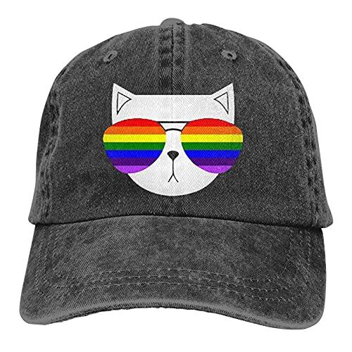Bokueay Gafas Gato Unisex Soft Casquette Cap Moda Sombrero Vintage Ajustable Gorras de béisbol Moda Negro