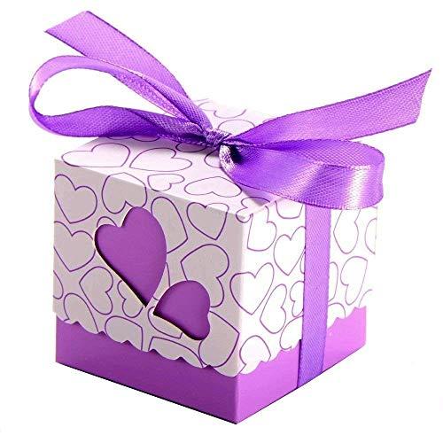 BigBigShop 50 x hartvorm papier Favor Box geschenkdoos doos voor gezellige snoep confetti bonbons, tafeldecoratie voor bruiloft verjaardag party baby shower festival (blauw) lila