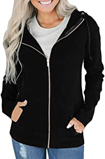 LOPELY Ladies Hooded Jacket Full Zip Hoodie Sweatshirt Solid Color Active Outdoor Hooded Top Casual Comfy Gothic Hoodie Hoody