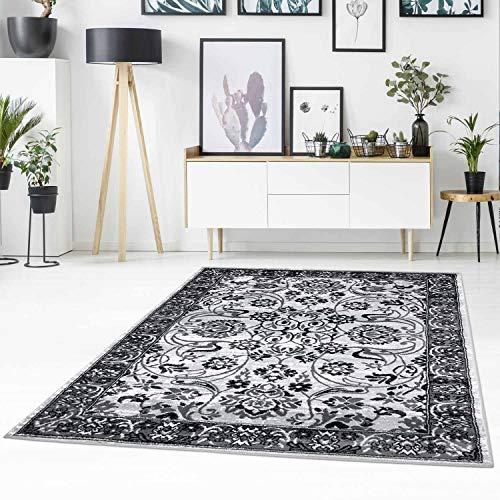 Carpet City Tapis Moderne à Poils Plats avec Motif Marais - Motif Floral - Gris chiné - Noir - pour Salon - Dimensions : 160/230 cm - 160 x 230 cm