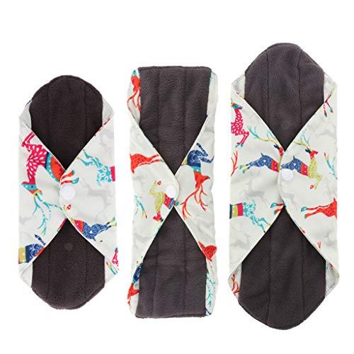 Paquete de 3pcs Almohadilla Menstrual de 3 Tamaños Disponibles Compresas de Fibra de Carbón de Bambú