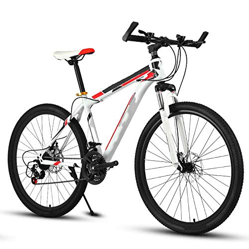 Mountain Bike, 26 Inch Variable 21 Speed Variable Speed Shock Absorption Double Disc Brakes Men and Women Bicycle Student Adult Spring Fork Low Gear Non Damping