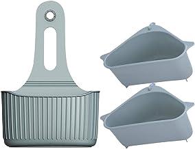 Hemoton 3pcs Sink Strainer Multifunctional Triangle Storage Holder Corner Hanging Shelf Rack with Suction Cup for Brush Sponge Soap Box