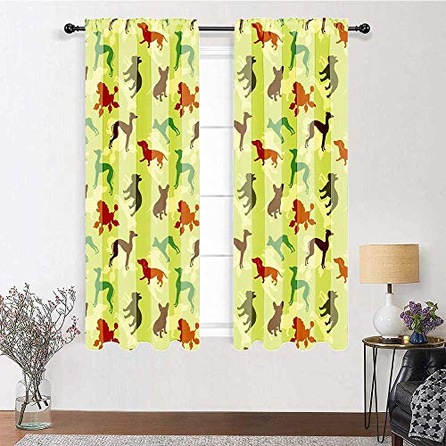 GugeABC Door Curtain 63 inch Length, Dog Lover Rod Pocket Curtains 72' x 63' - French Bulldog Greyhound Poodle Terrier Silhouette Pure Breed Animals Canine Type, Multicolor