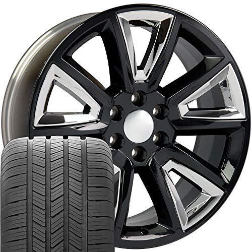 OE Wheels LLC 20 Inch Fits Chevy Silverado Tahoe GMC Sierra Yukon Cadillac Escalade CV73 Gloss Black 20x8.5 Rims Hollander 5696 Goodyear LS2 Tires SET