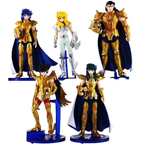 Pack 5pcs Figuras de Accion Caballeros del Zodiaco Estatua PVC Coleccionable Figura Set 5 Piezas Saga
