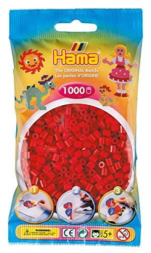Hama Perlen 207-22 Bügelperlen Beutel mit ca. 1.000 Midi Bastelperlen mit Durchmesser 5 mm in mittelrot, kreativer Bastelspaß für Groß und Klein