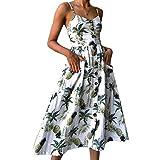 Vestidos de Mujer Summer Floral Bohemia Correa de Espagueti Abotonado Vestido Midi Swing con Bolsillos 16...
