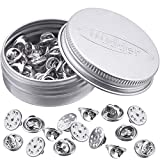 Brass Clutch Badge Insignia Clutches Pin Backs Replacement (Nickel, 50 Pieces)