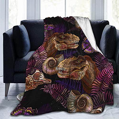 SONGQIU Tiranosaurus - Manta de forro polar con diseño de mariposas y hojas de palma, ultra suave, acogedora y decorativa para todas las estaciones para el hogar, sofá, cama, silla de viaje
