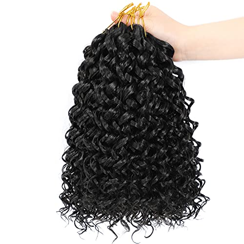 Dansama 6 Packs GoGo Curl Crochet Braids for Water Wave Crochet Synthetic Hair Extensions (12 inch, 1B#)