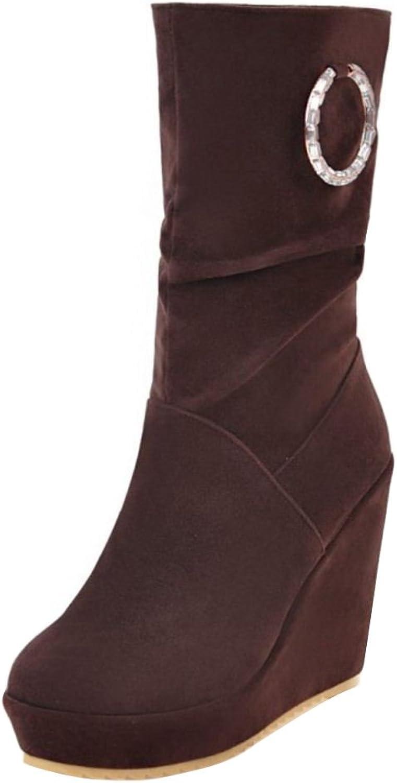 KemeKiss Women Fashion Half Boots Wedges High Heel