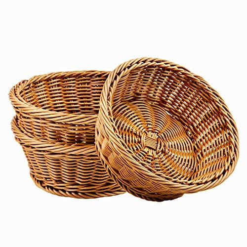 WANDIC Cesta Tejida, 3 cestas de Almacenamiento de Pan de Mimbre de Poli para Alimentos, Frutas y Verduras, Tienda Poco Profunda, exhibición de supermercados, Restaurante de casa, Redondo/marrón