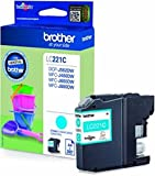 Brother Cartuccia d' inchiostro originale LC221 LC 221 LC 221 per Brother MFC J 1140 W – Black – Potenza: ca. 260 Pagine (02) 1x Tintenpatrone - Cyan