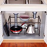 2 Tiers Extendable Under-Sink Organizer shelf organizer Storage Rack (bronze)