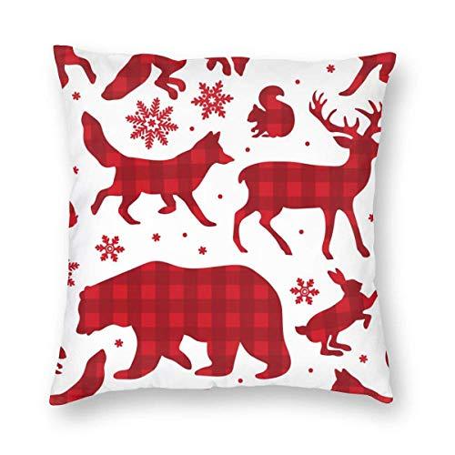 Doble Cojines Fundas 18' Buffalo Plaid Deer Feliz Navidad Floral Funda de Almohada Suave para la Piel