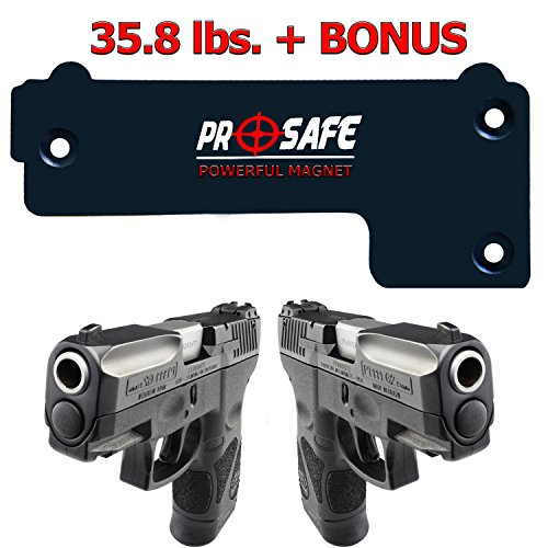 Gun Magnet Mount & Holster For Home & Vehicle -Upgrade To More Surface Area 35.8 Lbs- Concealed Magnetic Handgun Mount Holder -Firearm Accessory For Pistol, Rifle, Shotgun, Revolver, Car, Truck, Wall.