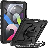SEYMAC iPad Air 4th Generation Case iPad 10.9 Case 2020 Full Protection Shockproof Case with Screen Protector [360 Rotatable Hand Strap Kickstand]Multifunctional Cover for iPad Pro 11 2020/2018,Black