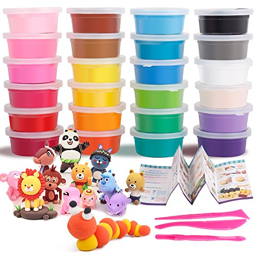 Dry Modeling Clay Set Ultra-Light 24 Colors Plasticine DIY Art Crafts Colored Modeling Magic with Tools for Children 3 Years Old and Up