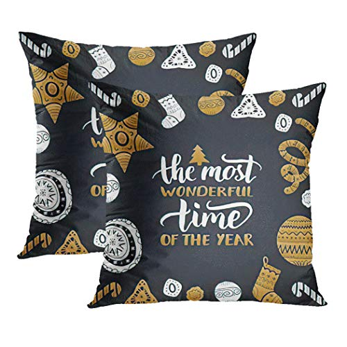 Y·JIANG Christmas Quote Cushion Cover, The Most Wonderful Time of The Year Festive New Year Soft Velvet Square Cushion Case Couch Cover Pillowcase for Sofa Chair Bedroom, 20 X 20 Inch, Set of 2