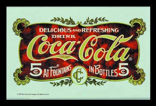 empireposter Coca Cola Postkarte - Bedruckter Spiegel mit Kunststoff Rahmen in Holzoptik, Kult-Spiegel - Grösse 30x20 cm