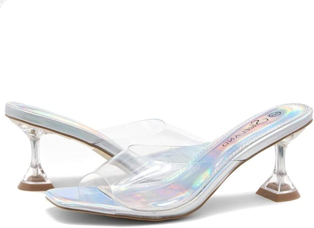 Perspex Vamp Slip-on Sandals Shoe Land Celebrate Open Toe Open Back Stiletto Heel