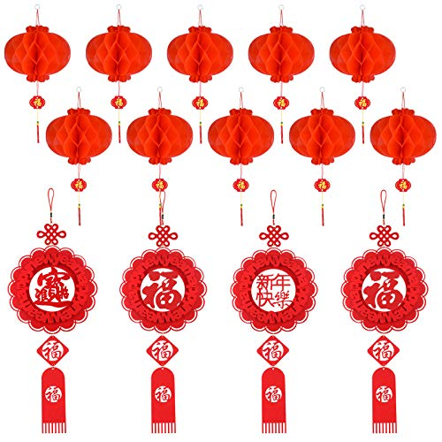 FEPITO 14 Pcs Chinese New Year Decoration Set Hanging Ornament with Chinese Knot Pendant Chinese Red Paper Lanterns for Home,Spring Festival,Chinese Wedding,Restaurant Decoration
