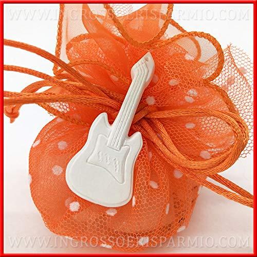 Ingrosso e Risparmio 12 Gessetti a Forma di Chitarra elettrica di Colore Bianco, Accessori, Decorazioni Fai da Te per bomboniere Compleanno, Eventi a Tema (Senza confezionamento)