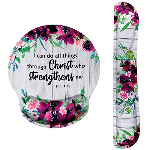 Ergonomic Design Mouse Pad with Wrist Rest Hand Support and Keyboard Support. Round Large Mousing Area. Mouse Pad & Keyboard Pad for Laptop, PC Computer & Mac. Desk Accessories with Inspirational Text