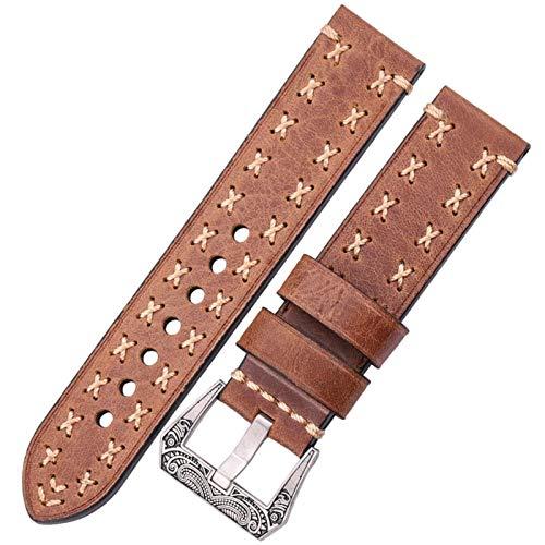 DFKai1run Reloj Correa de Cuero, Correa de Cuero, 22 mm 24 mm Vintage Hebilla de Acero Inoxidable Hebilla y Correa de Mujer Casual (Band Color : Brown, Band Width : 24mm)