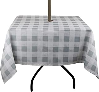 Jaoul Outdoor Umbrella Hole Tablecloth Spillproof Waterproof with Zipper for Spring & Summer, Family Patio Garden Cafe Tabletop Decor (Gray, 60