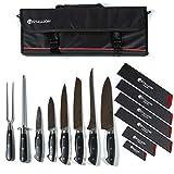 Stallion Professional Knives - sacchetto portacoltelli con sei coltelli, acciaio per affilare e forchetta per carne - lame in acciaio per coltelli tedesco 1.4116 e manico in G10 GFK