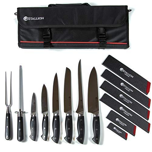 Stallion Professional Messer - bestückte Messertasche mit sechs Messern, Wetzstahl und Fleischgabel - Klingen aus deutschem 1.4116 Messerstahl und Griff aus G10 GFK