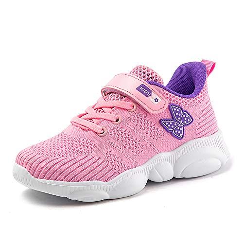 Ork Tree Kinder Sneaker Schuhe Turnschuhe Mädchen Hallenschuhe Jungen Sportschuhe Klettverschluss Kinderschuhe Laufschuhe,Pink B,36 EU
