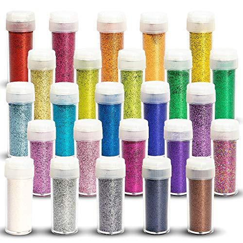 Tritart Profi Feiner Glitzer 25 x 10g (250g) | Glitter Set | Glitzerpulver | Pulver-Glitzer Basteln - Fasching - Deko usw