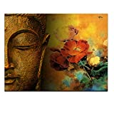 Visual Art Decor Large Well-designed Buddha Canvas Wall Art Buddha Statue Painting Prints Framed Ready to Hang Pure Belief Buddism Piccture for Zen Living Room Bedroom Decoration