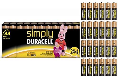 24 pcs Simply Duracell AA Mignon LR6 pilas alcalinas batería juego de bolsa