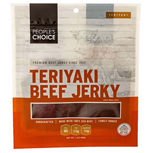 People's Choice Beef Jerky - Classic - Teriyaki - Whole Muscle Premium Cuts - Thin Pieces - Low Sodium Low Salt High Protein Meat Snack - 3 Ounce Bag (Pack of 3)