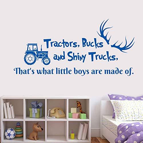 Muursticker trekker en glimmende vrachtwagen herten gewei auto dump truck vinyl sticker kinderkamer slaapkamer decor