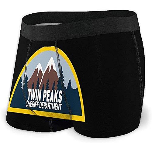 Twin Peaks Sheriff Department Hombres Calzoncillos Boxer Sin Ride Up Sexy Ropa Interior de Secado rápido Pantalones Cortos de poliéster Spandex para Hombres Talla L